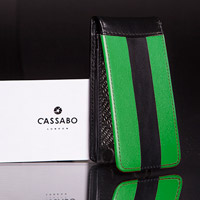 Black and green leather phone case