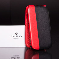 Black and red leather phone case
